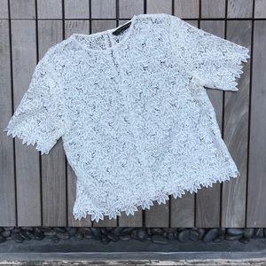 ZARA Cream Lace Short Sleeve Button Up Shirt